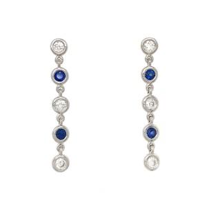 Fab Drops 14k White Gold Diamond and Sapphire Drop Earrings