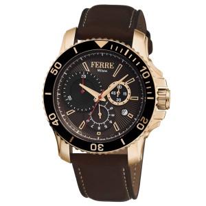 Ferre Milano Chocolate Dark Brown Calfskin Leather FM1G070L0051 Watch