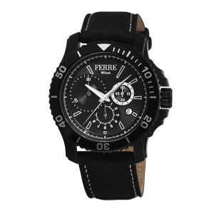 Ferre Milano IP Black Black Calfskin Leather FM1G070L0121 Watch