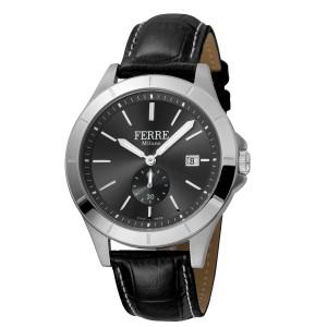 Ferre Milano Black Black Black Leather Strap FM1G080L0021 Watch