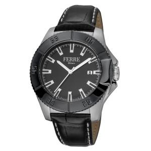 Ferre Milano Black Black Black Leather Strap FM1G085L0041 Watch