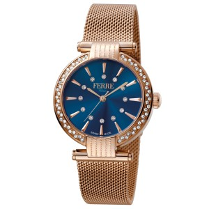 Ferre Milano D. Blue Rose Gold Mesh RGMESH FM1L096M0091 Watch