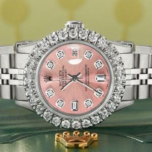 Rolex Datejust Steel 26mm Jubilee Watch 2CT Diamond Bezel / Salmon Diamond Dial