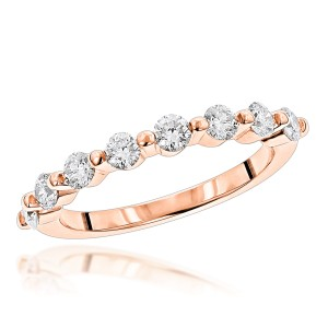 Ultra Thin Ladies 1 Row Diamond Ring 0.5ct 14k Gold Ring