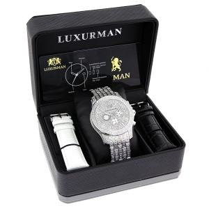 Luxurman Raptor 2106 Stainless-Steel Quartz 1.25ct Diamond Silver Dial Iced Out Mens Watch