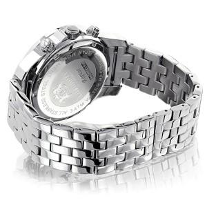 Luxurman Raptor 2117 Stainless-Steel Quartz 0.25ct Diamond White Dial Mens Watch