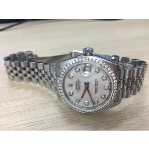 Rolex Midsize 31mm Datejust with Mother Pearl Diamond Dial and Diamond Bezel Watch