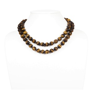Large Tiger Eye Bead Flapper Necklace