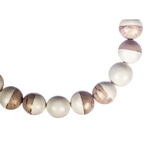 Abstract Porcelain Painted Bead Ball Necklace