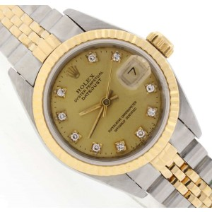 Rolex Datejust Original Champagne Diamond Dial 2-Tone 18K Yellow Gold/Steel 26MM Ladies Watch