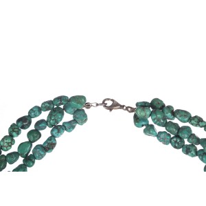 Turquoise Nugget Bead Triple Strand Vintage Necklace