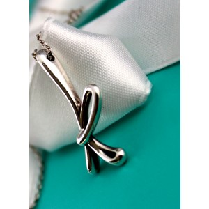 Tiffany & Co. 925 Sterling Silver With Elsa Peretti Scripted Letter K Pendant Necklace