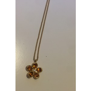 Tiffany & Co. 18K Yellow Gold Citrine and Diamond Floral Pendant Necklace