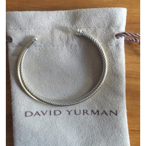 David Yurman Sterling Silver and 18K Yellow Gold Crossover Cuff Bracelet