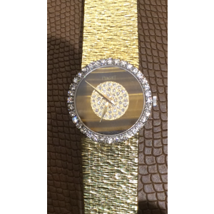 Rare Piaget 18K Yellow Gold Tiger Eye Diamond Bezel Lady's Wrist Watch