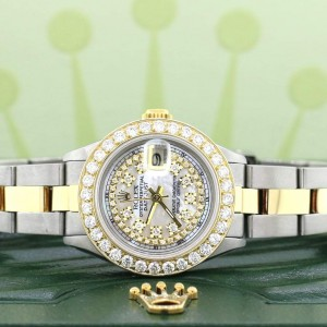 Rolex Datejust Ladies 2-Tone 18K Yellow Gold/Steel 26MM Oyster Watch w/MOP Diamond Dial & 1.3CT Bezel