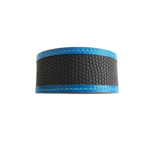 Hermes Petit H Black Blue Lizard Calf Cuff Bracelet