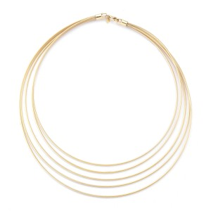 Yellow Gold Super-flex Semi-hollow Multi-strand Wire Necklace