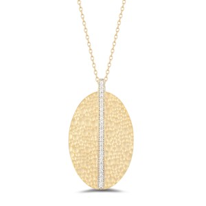 I.Reiss Matte And Hammer-Finished Large Oval-shaped Pendant