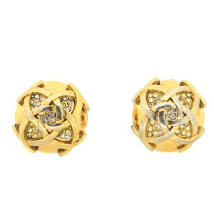 Chanel Overlapping CC Earrings with Crystals