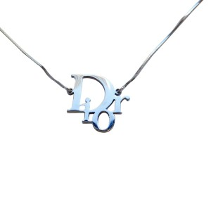 "Shipping For: Christian Dior Silvertone ""DIOR"" Pendant Necklace"