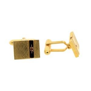 Vintage Christian Dior Brushed Goldtone Ruby Cufflinks