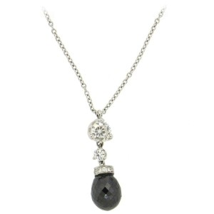 Roberto Coin Diamond 18K White Gold Briolette Pendant Necklace
