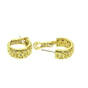 Roberto Coin Diamond 18K Yellow gold Hoop Earrings