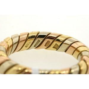 Bulgari 18k Yellow Gold & White Gold Tubogas Weave Rose Wedding Band Ring