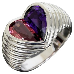 Bulgari 18K White Gold Doppio Heart Ring