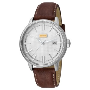 Just Cavalli Men's Relaxed Patch Silver Dial Calfskin Leather Watch