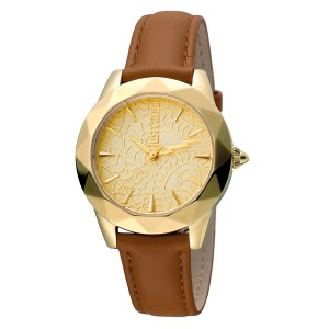 Just Cavalli Women's Rock Sangallo Gold Dial Calfskin Leather Watch