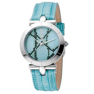 Just Cavalli Women's Animal Devore Ice Blue Dial Calfskin leather Watch