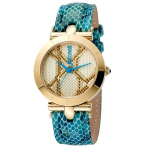 Just Cavalli Women's Animal Devore Champagne Dial Calfskin leather Watch