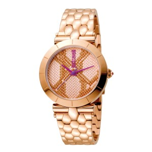 Just Cavalli Women's Animal Devore Rose Gold  Dial Stainless Steel Watch