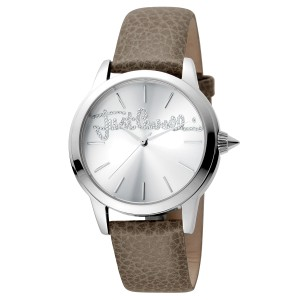Just Cavalli Women's Logo Silver  Dial Calfskin Leather Watch