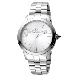 Just Cavalli Women's Logo Mohair Silver  Dial Stainless Steel Watch