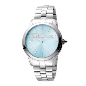 Just Cavalli Women's Logo Mohair Ice Blue Dial Stainless Steel Watch