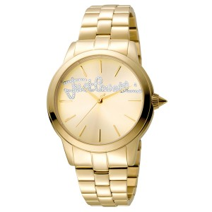 Just Cavalli Women's Logo Mohair Gold Dial Stainless Steel Watch