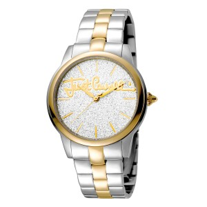 Just Cavalli Women's Glam Chic Mohair Silver Dial Stainless Steel Watch