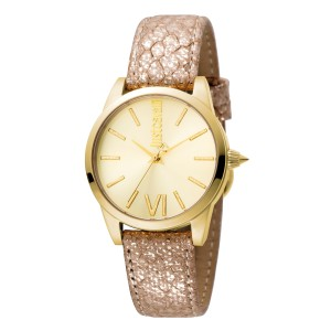 Just Cavalli Women's Relaxed Velvet Gold Dial .Calfskin Leather Watch