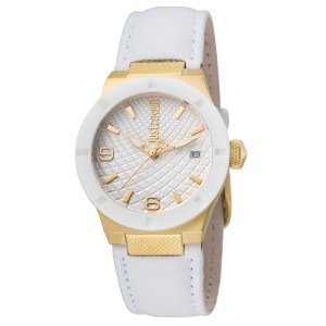 Just Cavalli Women's Rock White Dial Calfskin Leather Watch
