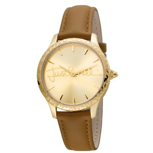 Just Cavalli Women's Logo Plisse Gold Dial Calfskin Leather Watch