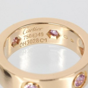 Cartier 18K Rose Gold Full Pink Sapphire Love Ring