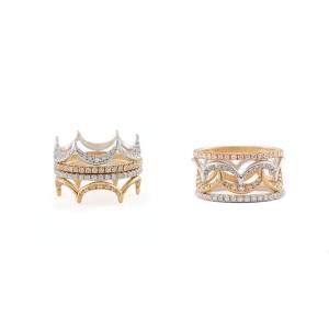Jado Crown Luminosity Sunshine Quartet 18k White Gold with Rhodium Plating Diamonds Ring