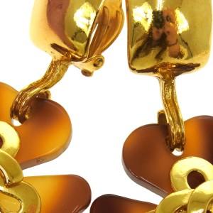 Chanel Vintage CC Logos Tortoiseshell Clover Motif Earrings