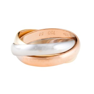 Cartier Rose,White,Yellow Gold Trinity Ring 6.25