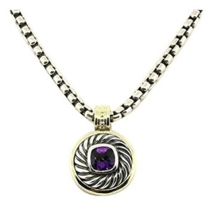 David Yurman Sterling Silver & Yellow Gold Amethyst Cable Chain Pendant Necklace