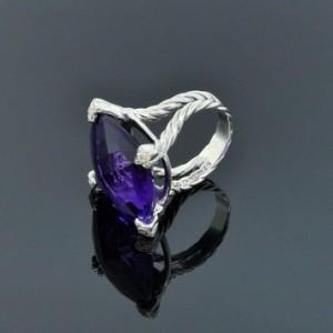 David Yurman Sterling Silver Diamond Amethyst Cushion on Point Ring