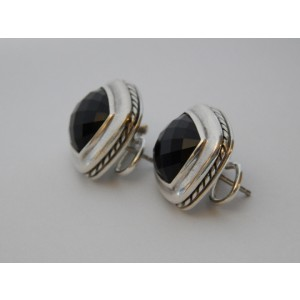 David Yurman Albion 11mm Earrings with Black Onyx Perfect Condition